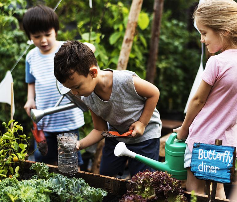 Three children water plants in a garden.